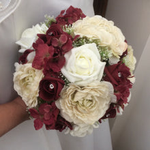 burgundy and ivory wedding bouquet
