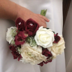 LAST ONE - a wedding bouquet of cream, ivory & burgundy artificial roses & hydrangea