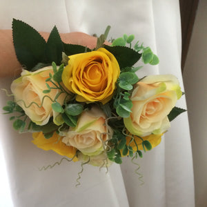 yellow and champagne silk roses