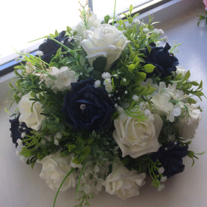 Ivory and navy artificial silk flowers arranged in a posy style