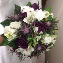 thistle and rose and lily wedding bouquet