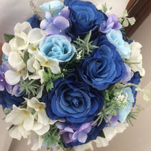 A wedding bouquet collection of artificial blue roses & hydrangea flowers