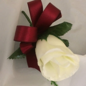 a single ivory silk rose buttonhole (choice of ribbon colour)