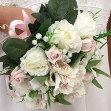 - A bouquet collection of silk pink & ivory roses, gyp & alstromeria flowers