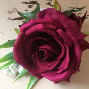 silk burgundy rose buttonhole