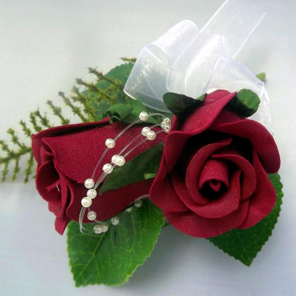 wedding buttonhole, two burgundy foam roses, pearl loops