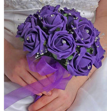 wedding posy bouquet of purple foam roses with diamante centres