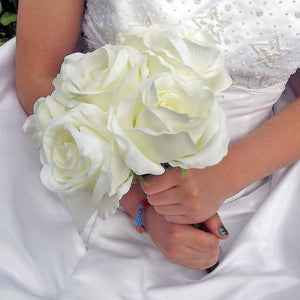 WEDDING BOUQUET of artificial silk large ivory silk roses (choice of ribbon colour)