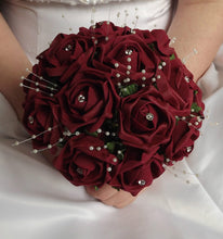 artificial wedding bouquet burgundy foam roses flowers