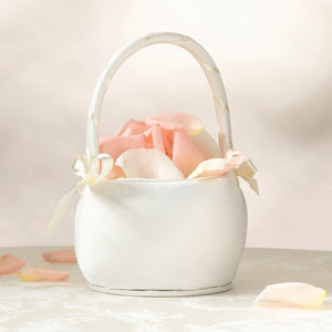 flower girls white satin bridesmaid flower basket