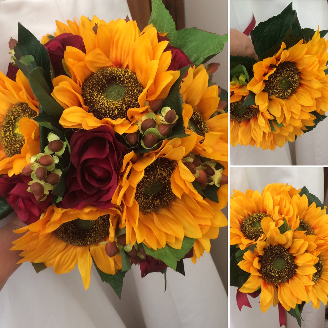 wedding bouquet package of sunflowers roses and hypericum