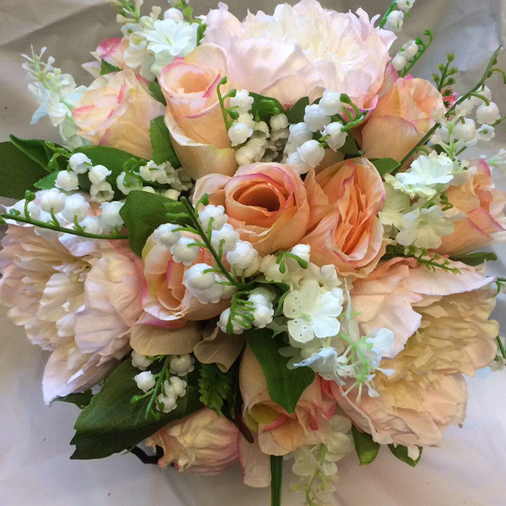 artificial silk peach brides bouquet