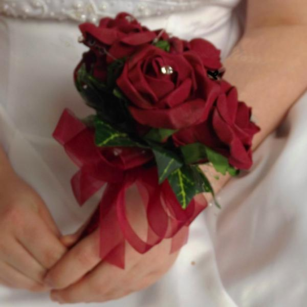 bridesmaids wedding posy bouquet of burgundy foam roses with diamante centres