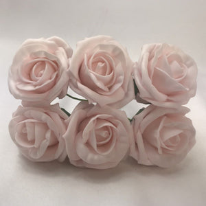 Foam roses a bunch of 6 pretty pink mist flowers - 6cm head size