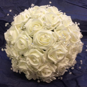 brides foam rose and crystal bouquet