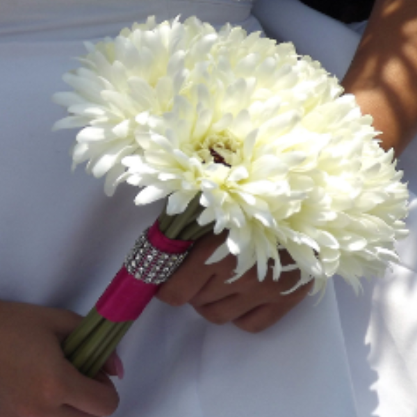 ivory gerbera wedding bouquet