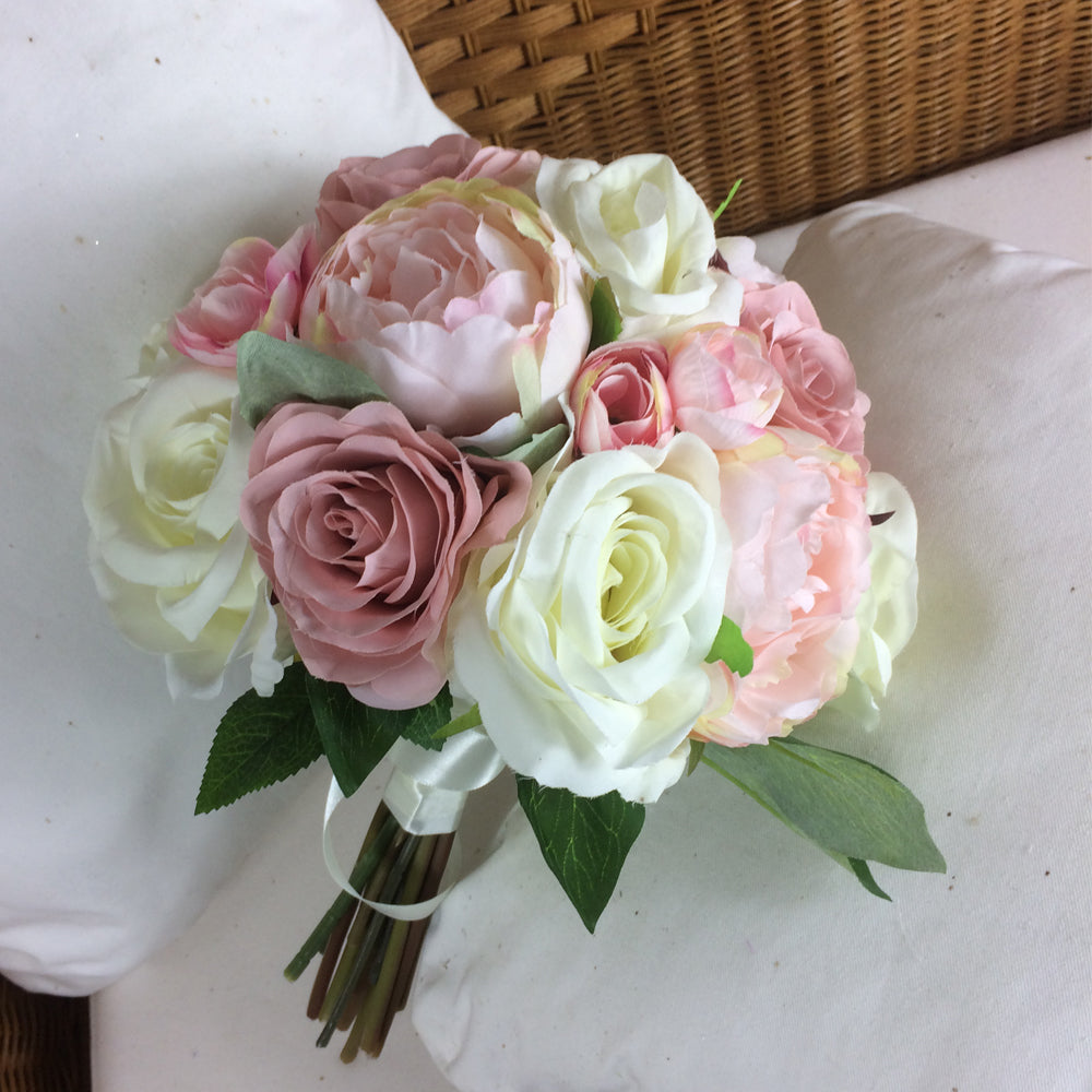 Brides Wedding Flowers: A Brides Bouquet Of Pale Pink And Ivory Silk Roses & Peony