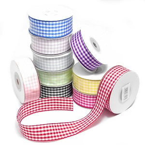pink blue or red 1.5 cm x 10m gingham check ribbon