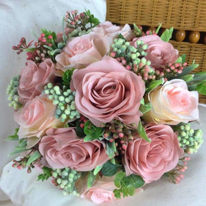 dusky pink wedding bouquet for bride