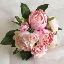 artificial silk vintage pink peony bunch