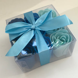 9 Boxed Rose Soap flowers - blue