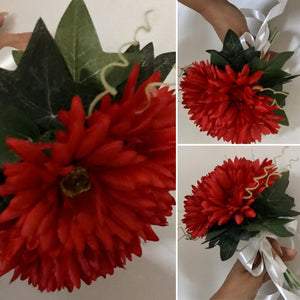a bridesmaids simple design of red gerberas