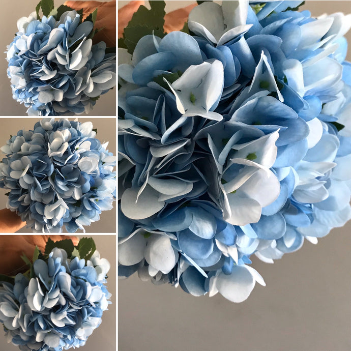 a bouquet of blue artificial hydrangea flowers