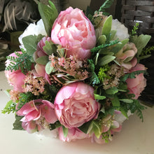 artificial wedding bouquet of peonies and roses