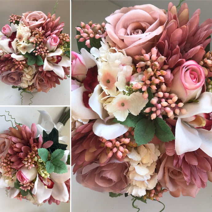 A wedding bouquet of dusky pink artificial flowers
