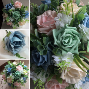a collection of artificial wedding bouquets