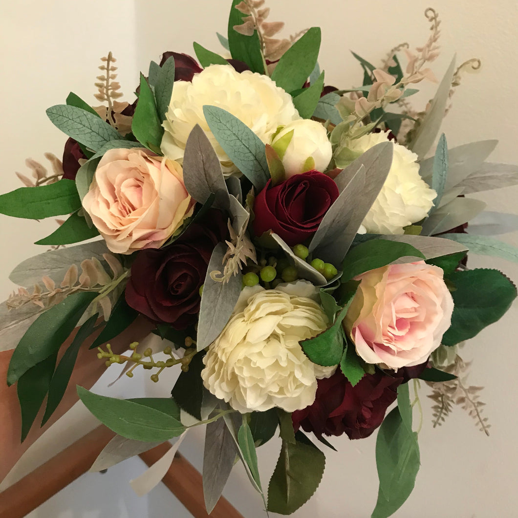 blush and burgundy artificial wedding bouquet