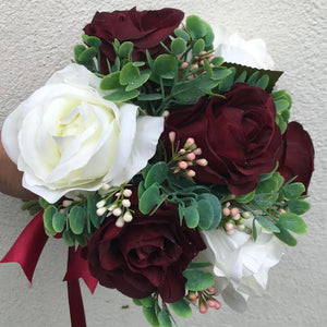 A bridesmaids bouquet of ivory & burgundy silk rose flowers