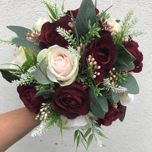 a bridal bouquet of artificial roses