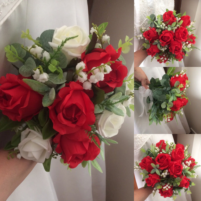 bouquet collection of red silk roses