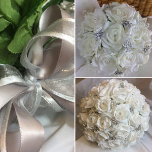 A wedding bouquet collection of white or ivory foam roses & diamante