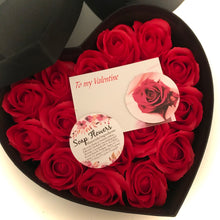 17 red soap rose flowers presented in luxury heart shaped box