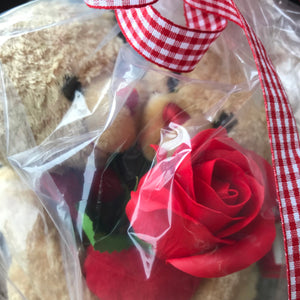 valentine teddies with red soap rose