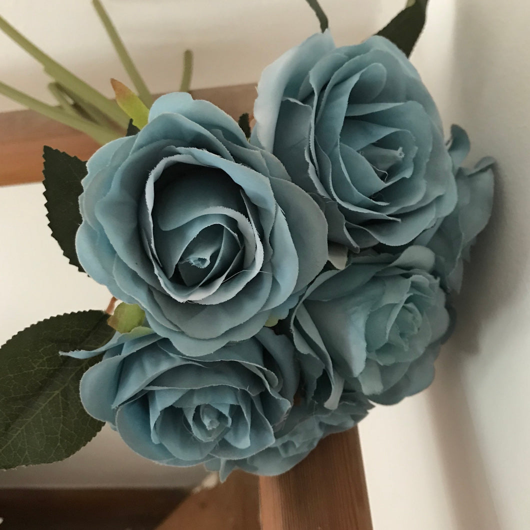 artificial teal bunch of roses