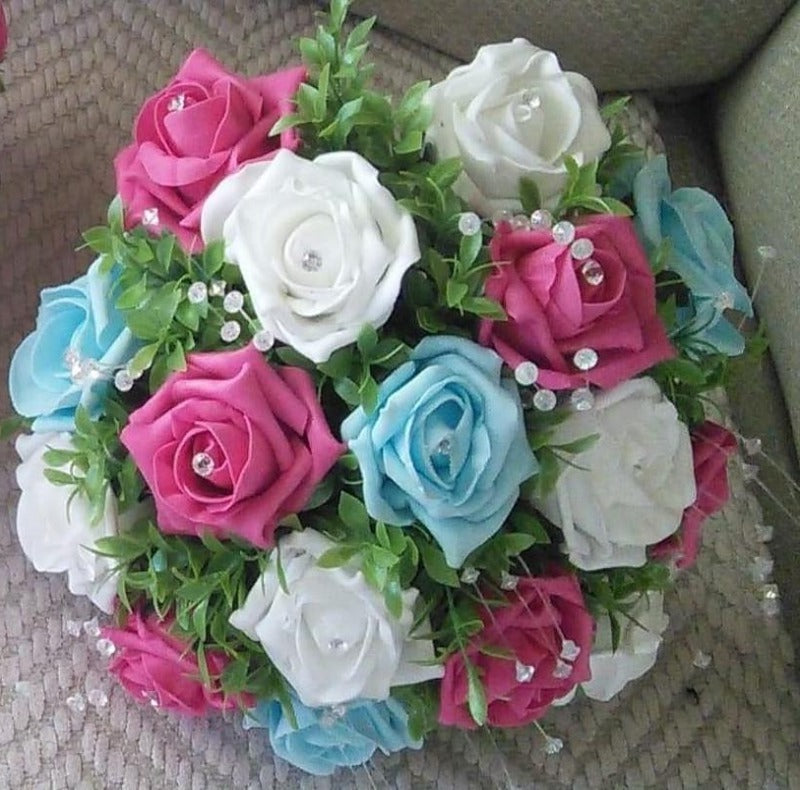 aqua cerise and white wedding bouquet