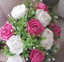 cerise and white wedding bouquet