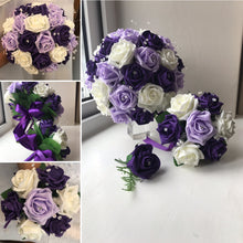 a bouquet collection of purple ivory and lilacfoam roses