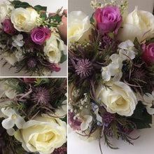 A collection of wedding bouquets featuring  artificial roses and thistles