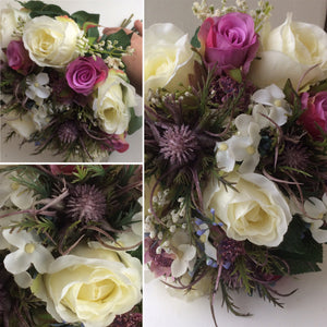 A wedding bouquet collection of artificial roses and thistles