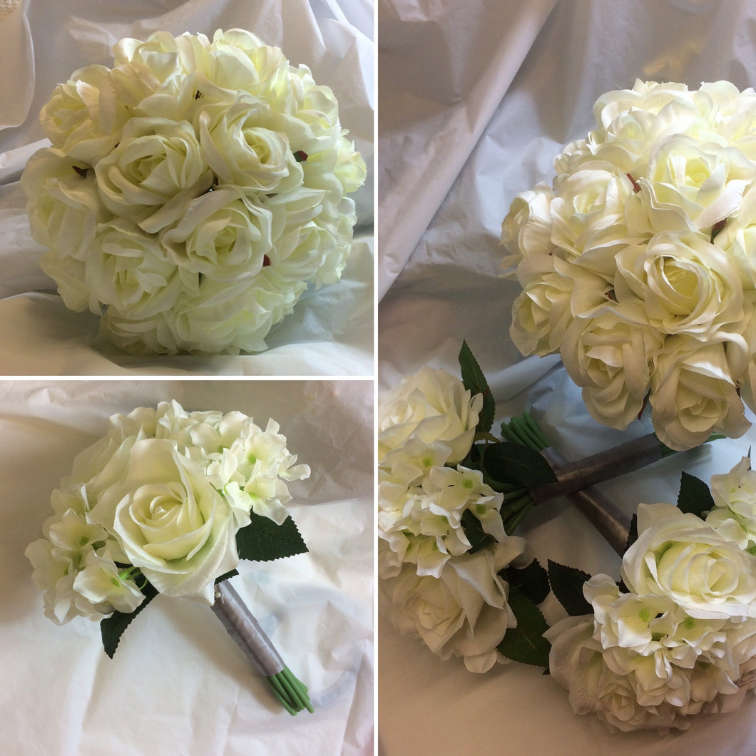 artificial wedding bouquets of ivory roses