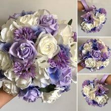 artificial wedding bouquets of lilac and ivory flowers