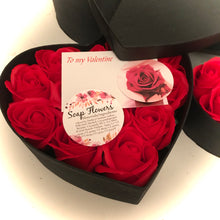 13 red soap rose flowers presented in luxury heart shaped box