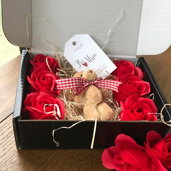teddy and red soap roses