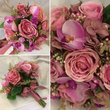 a collection of wedding bouquets in dusky pink