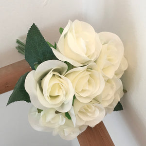 ivory faux roses bunch of 11 flowers