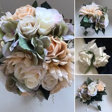 A wedding bouquet of champagne and Ivory faux silk flowers